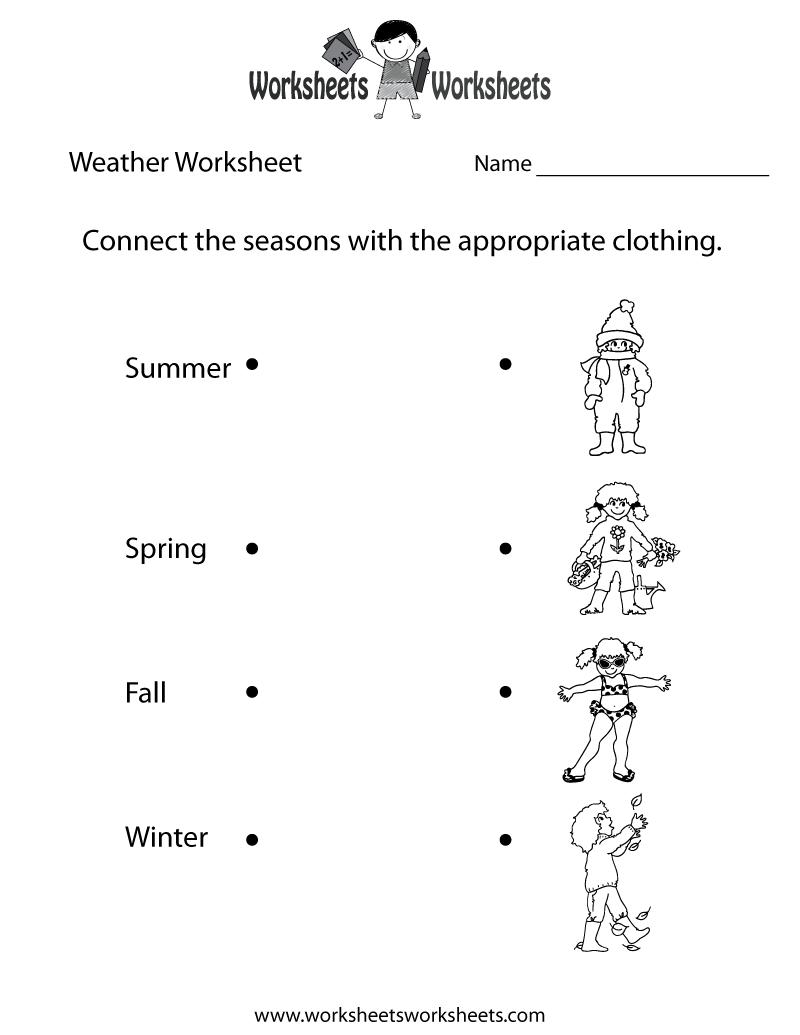 Fun Weather Worksheet Printable Seasonal Worksheets Pinterest