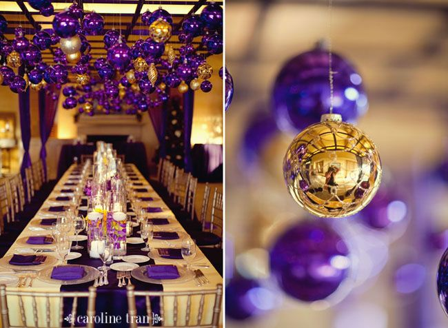 Purple and Gold Hall Decorations | Purple and Gold Wedding ...
