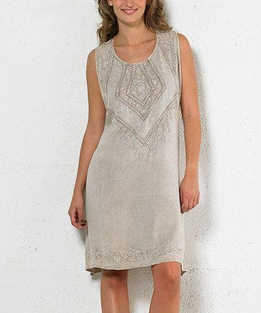 Another great find on #zulily! Beige Tie-Waist Cap-Sleeve Dress - Plus Too #zulilyfinds