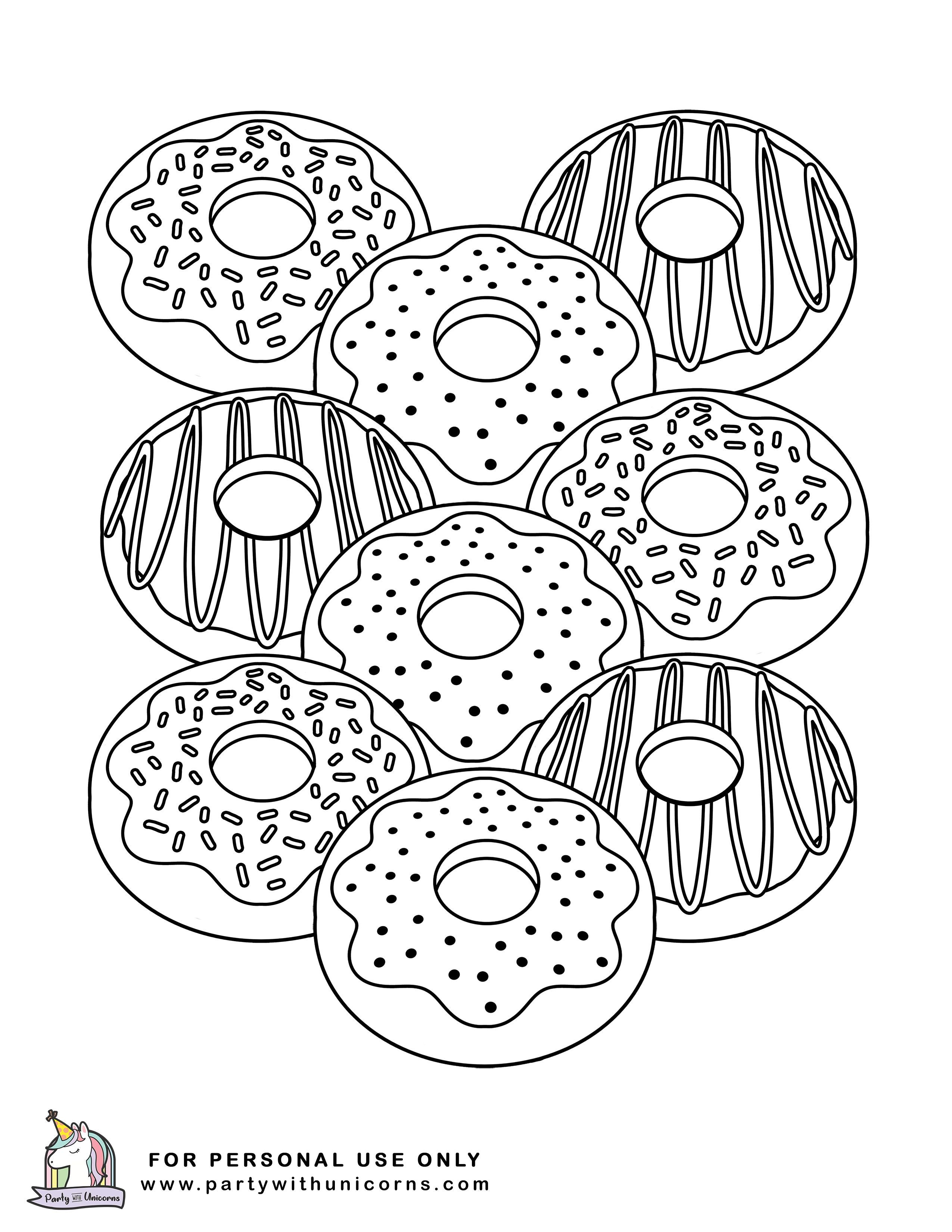 10 Donut Coloring Pages - Free Download  Donut coloring page