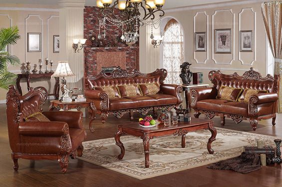 Caesar Palace American Classical Leather Sofa Set(1+2+3) - MelodyHome.com