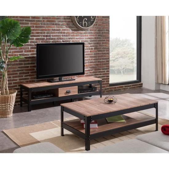 Industrie Meuble Tv Industriel Effet Bois Et Noir Brillant L 151 Cm Achat Vente Meuble Cdiscount Meuble Meuble Noir Et Bois Table Basse Style Industriel