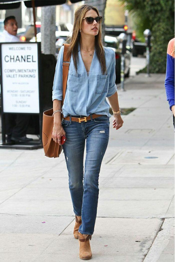 Veste chemise jean femme
