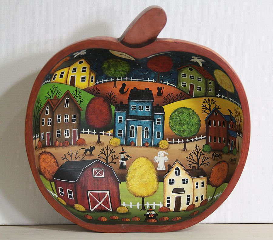 Pumpkin Bowl in 2020 Halloween folk art, Primitive