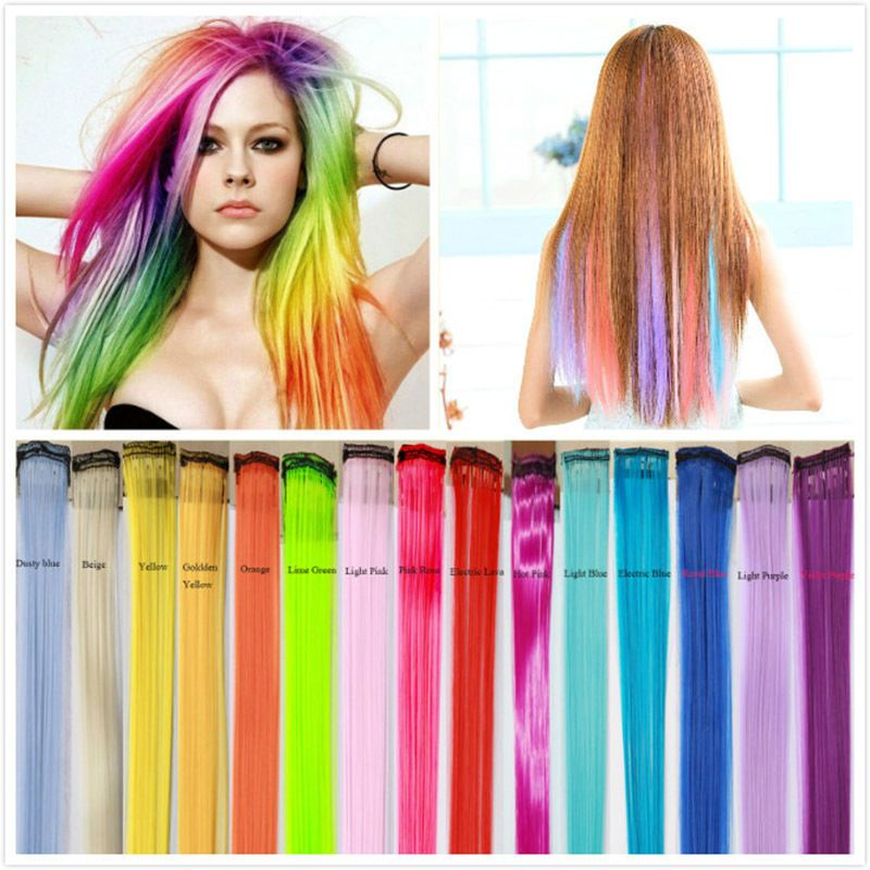 Rainbow Hair Piece Stunning One Clip In Hair Extensions 15 Colors
