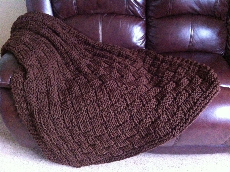 Chunky Basket Weave Blanket / Sofa Throw ~ Knitting pattern ...