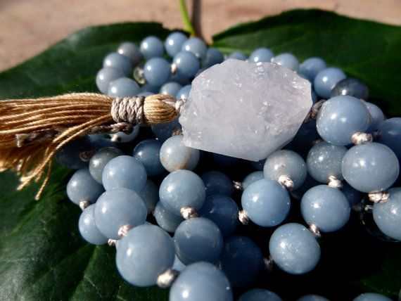 Angelite Knotted Mala Beads - Yoga Prayer Beads - Mantra Meditation Stones