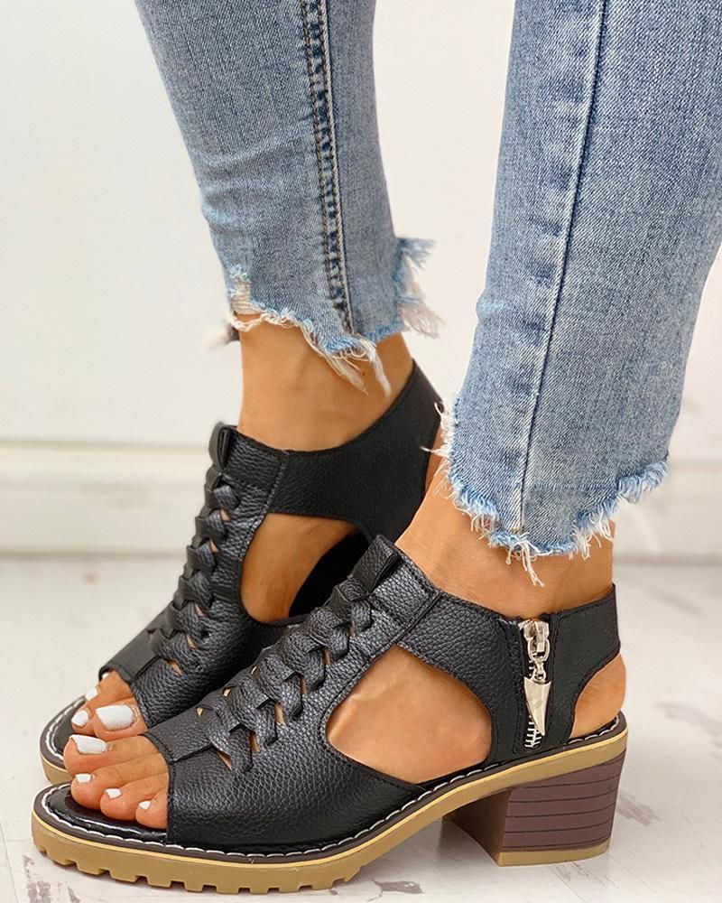 Details about  /Womens Peep Toe Slingback Roman Sandals Hollow Out Low Chunky Heel Shoes Zipper