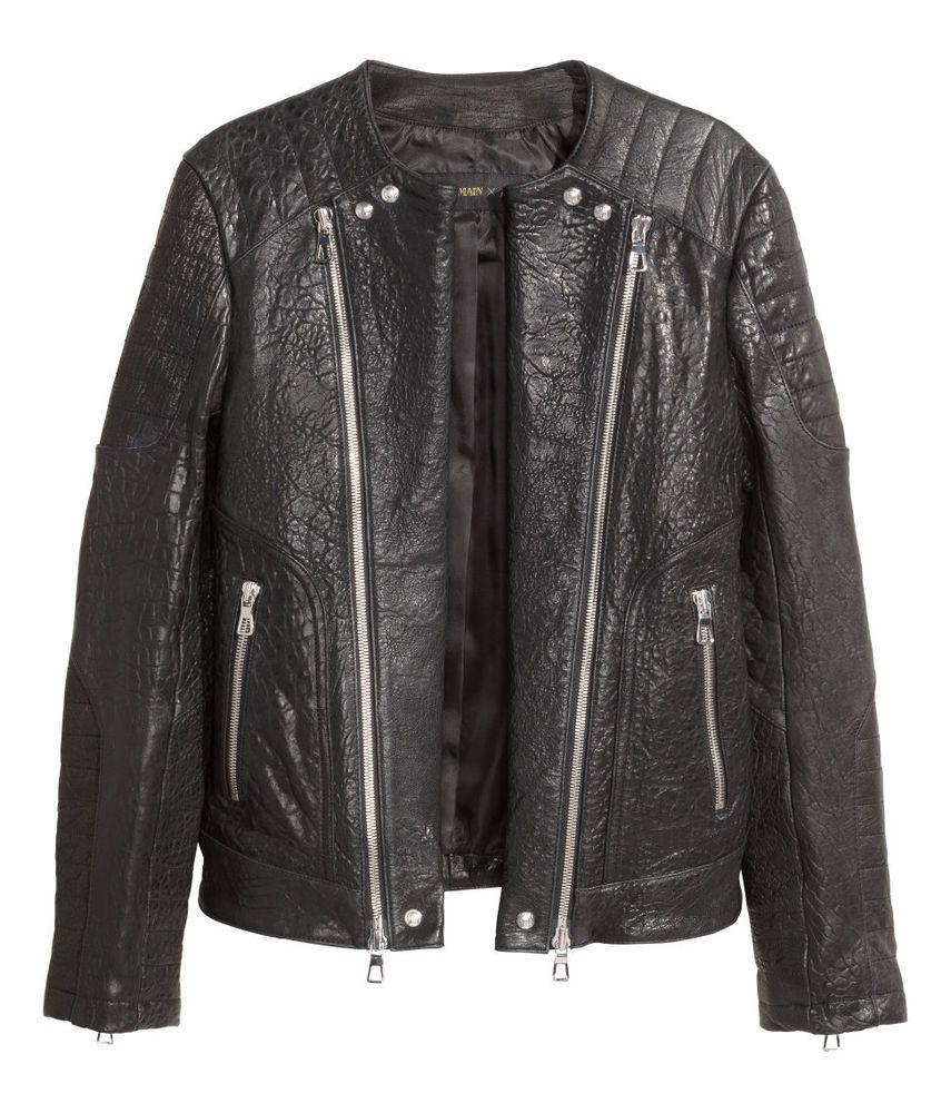 BALMAIN H&M Men s GRAINED ZIP Leather JACKET Textured