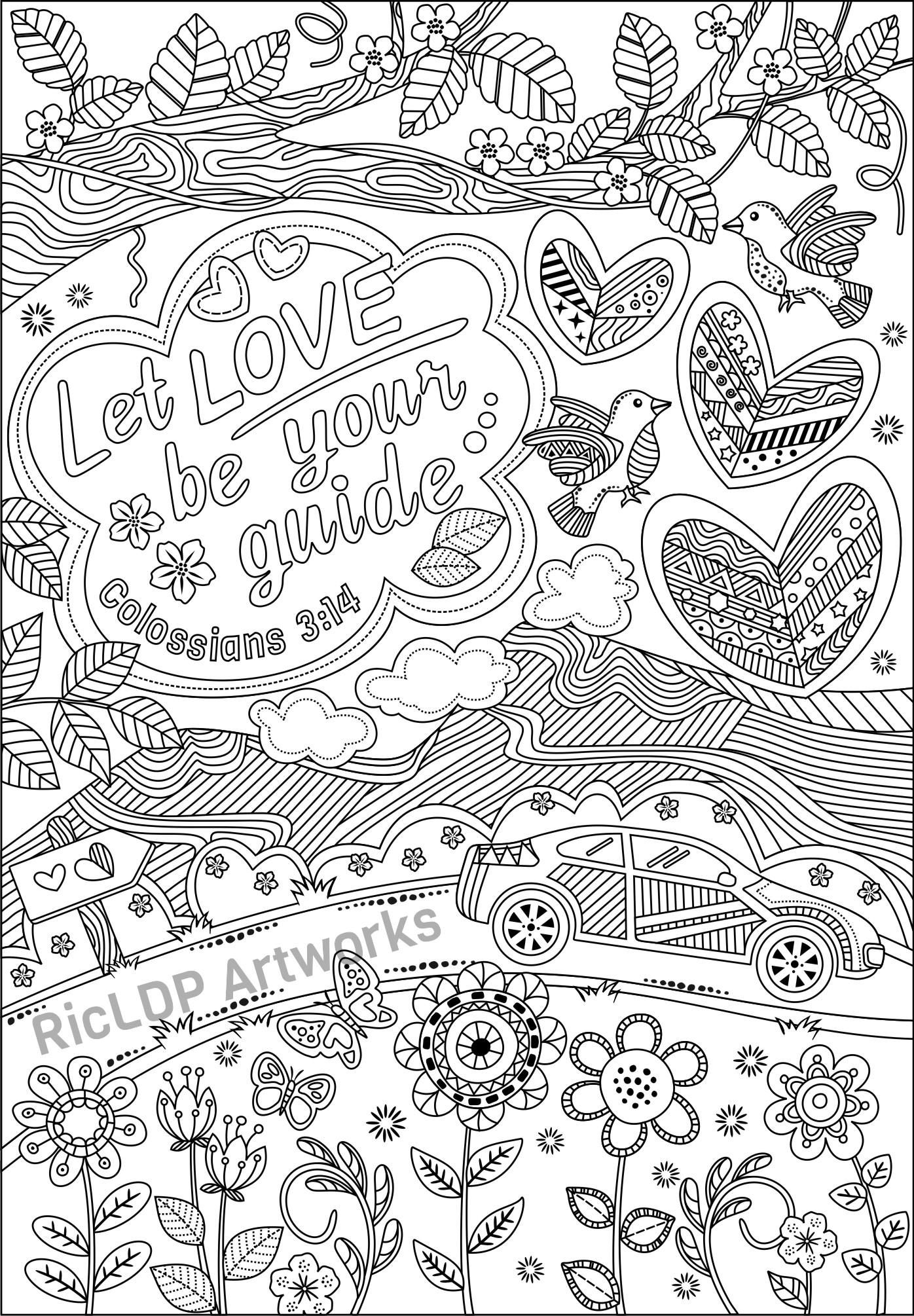 Set Of 3 Bible Coloring Pages For Grown Ups Colossians Luke And Jeremiah Coloring Bible