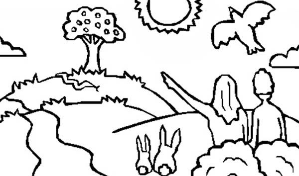 Adam and Eve, : Drawing Bible Story Adam and Eve Coloring Page ...