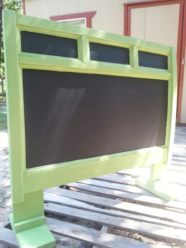 Turn an old headboard into a chalkboard. Great for business, wedding or even a childs room