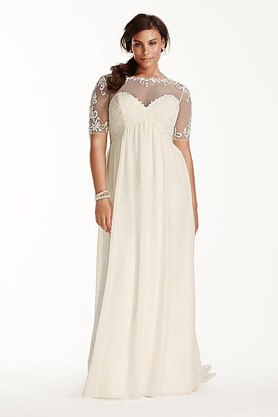 Illusion sleeve chiffon wedding dress with empire waist for Plus size lace wedding dresses with sleeves