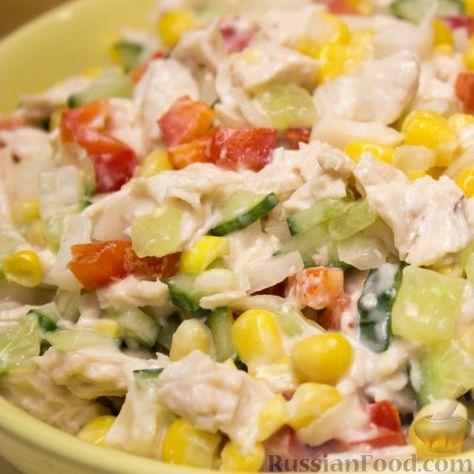 """Рецепт Салат """"Калейдоскоп"""" с курицей и овощами, cостав ..."""