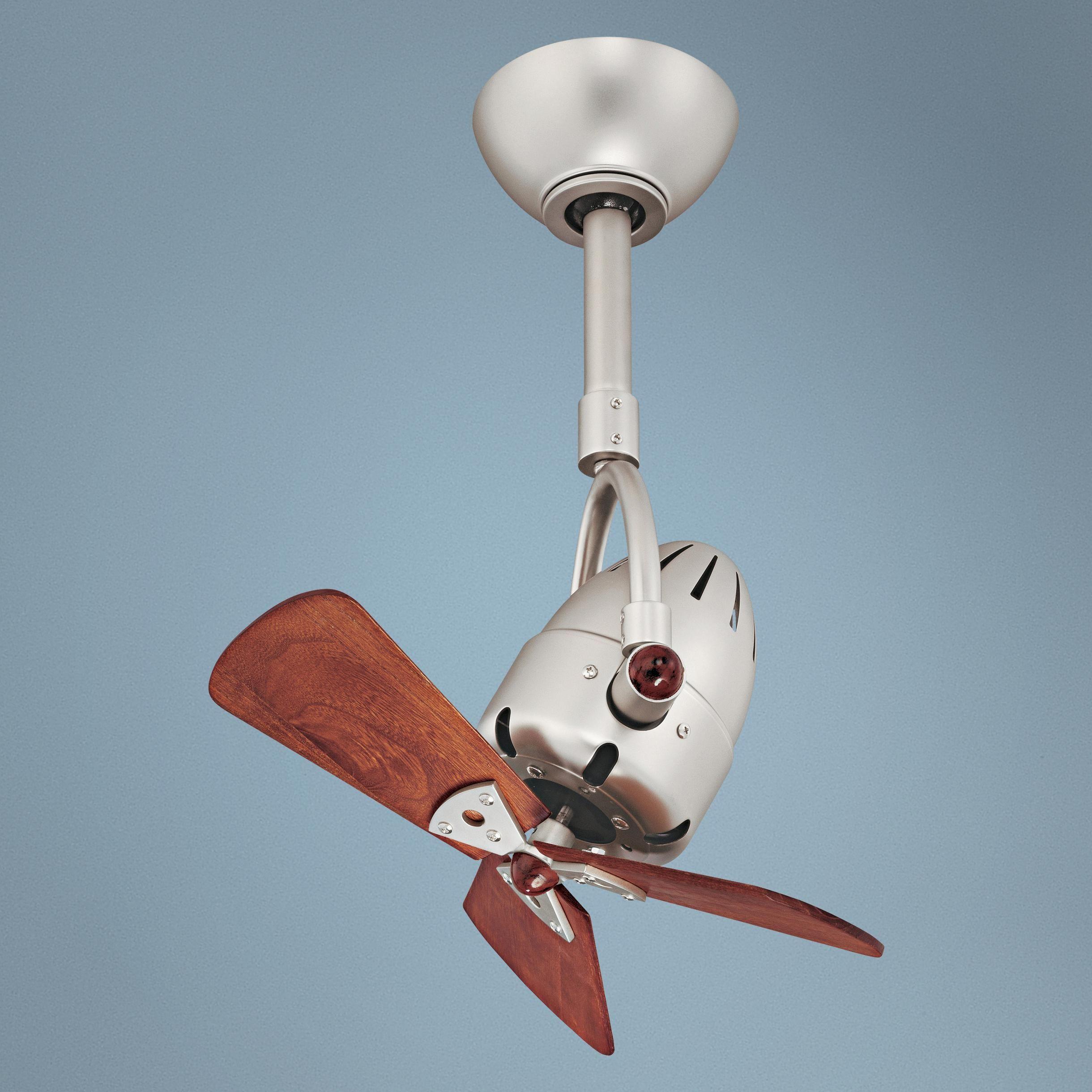 "16"" Matthews Diane Brushed Nickel Wood Blades Ceiling Fan I"