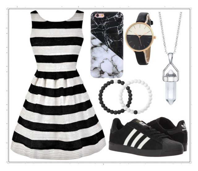 """525: Black and White"" by alinepelle ❤ liked on Polyvore featuring adidas, Lokai and Bridge Jewelry"