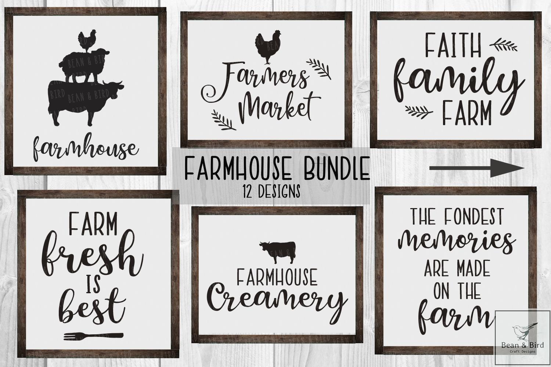 Farmhouse Set 12 Designs Farmhouse Signs Faith Family Farming Local Farmers Market
