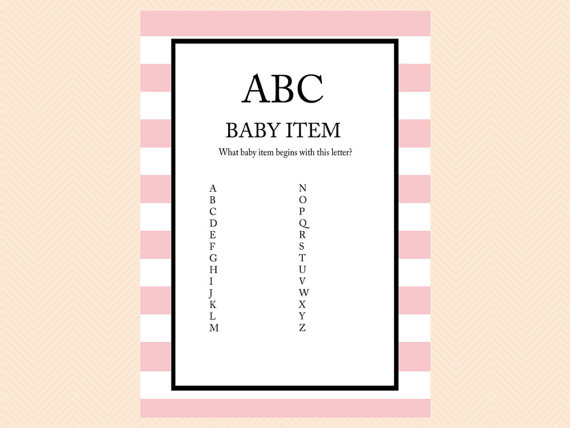 ABC Baby Item Game, A to Z Game Printable Baby Shower Games