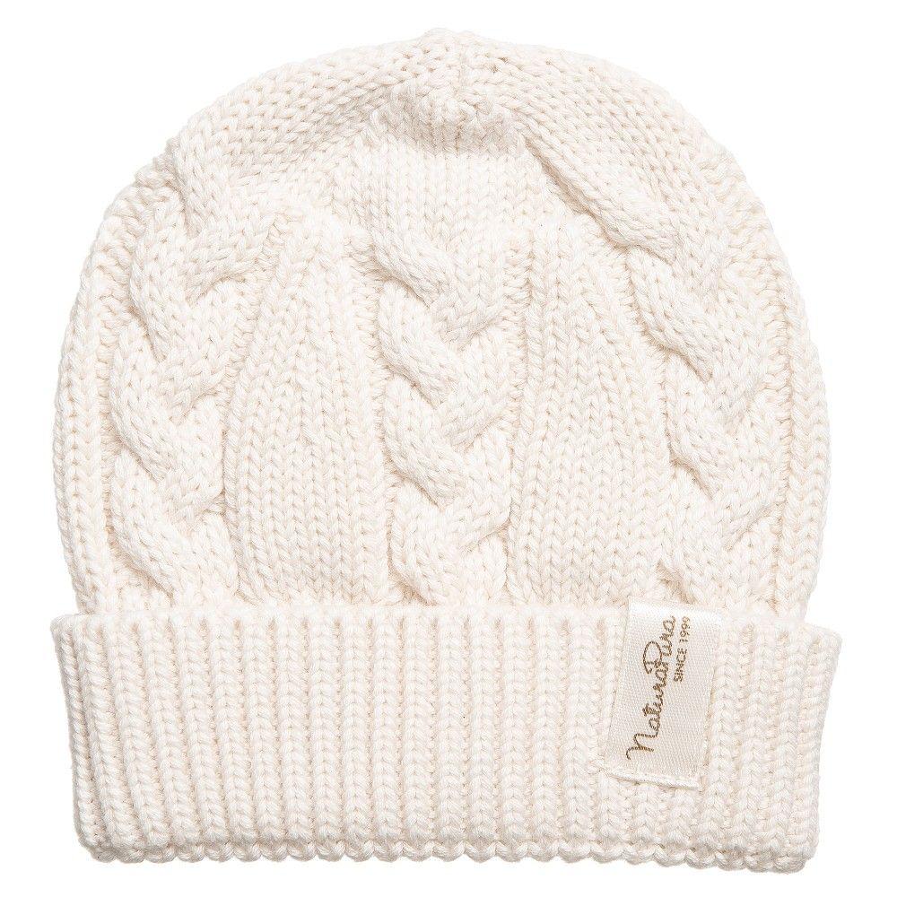 Naturapura - Ivory Organic Cotton Cable Knit Baby Hat   Childrensalon