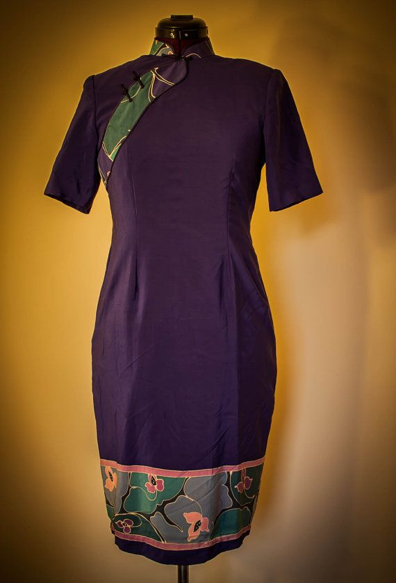 #Vintage #Japanese style #dress. Beautiful! Zipper up the back with two snaps behind the collar. Small shoulder pads. Fully lined.  No tags or labels inside. Very good condition. No holes or stains.  Elegant and colorful