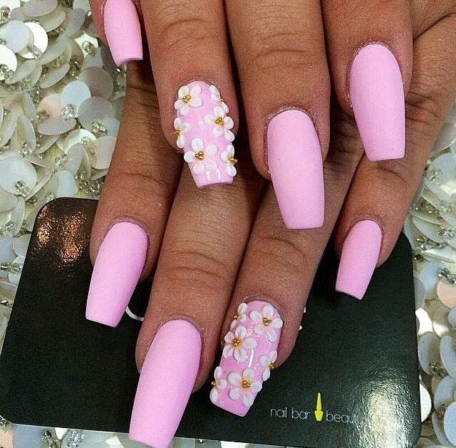 Pink Matte Long Coffin Nails with a white flower design. So adorable ...