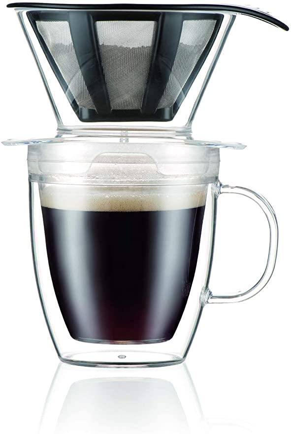 Amazon Com Bodum Pour Over Coffee Dripper Set With Double Wall Mug And Permanent Filter 12 Ounce In 2020 Pour Over Coffee Maker Single Coffee Maker Pour Over Coffee