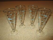 LOT OF 4 VINTAGE LIBBEY ATOMIC MID CENTURY PILSNER GLASSES AQUA SILVER FISH