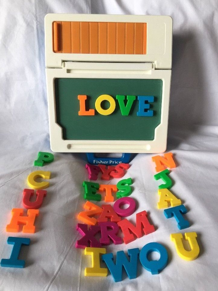 Vintage 1990 Fisher Price School Desk Magnetic Letter Chalk Board Carrying Case Fisher Price Fisher Price Toys Chalk