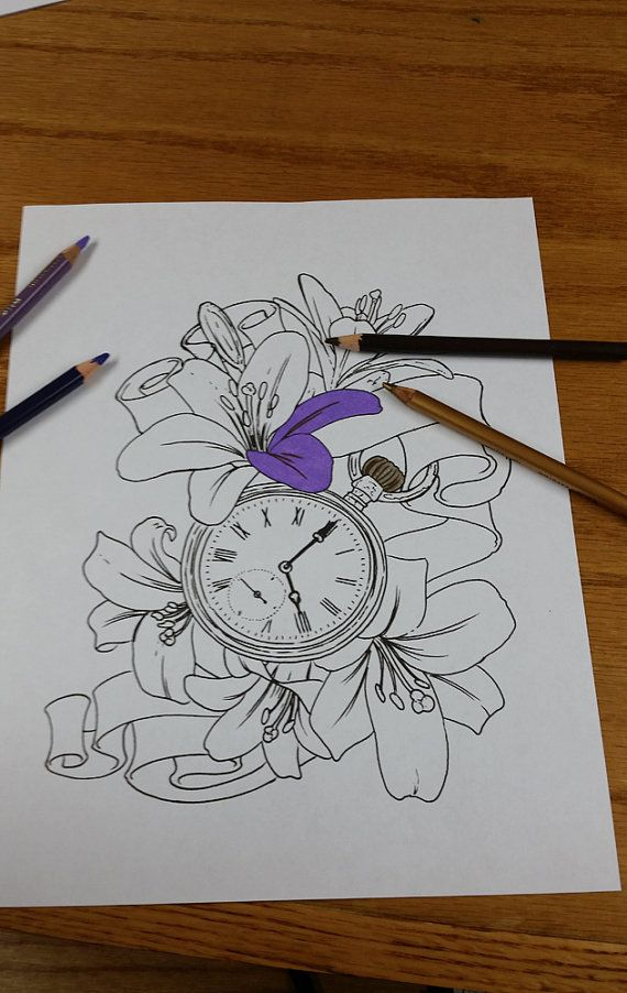 66d23934a Pocket Watch With Lilies Tattoo Flash Coloring by Lucky13TattooNC, $2.00