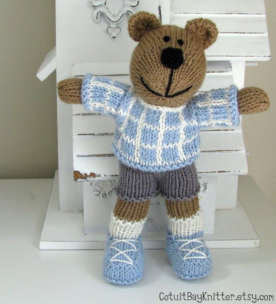 Knitted Toy Teddy Bear Stuffed Toy Hand Knit by CotuitBayKnitter