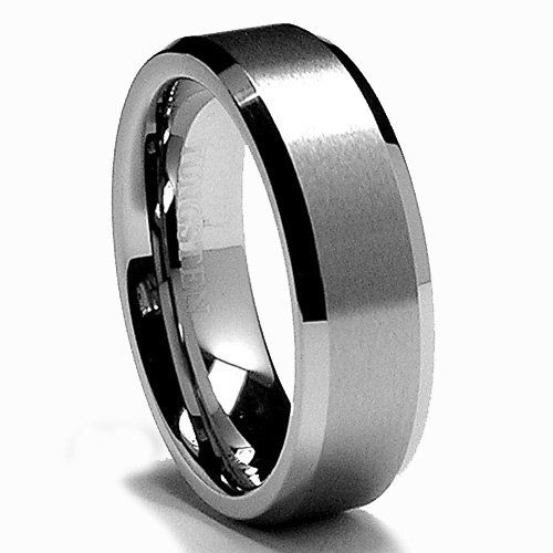 BillyTheTree Jewelry Titanium Grooved Black Finish 6mm Brushed and Polished Band Ring