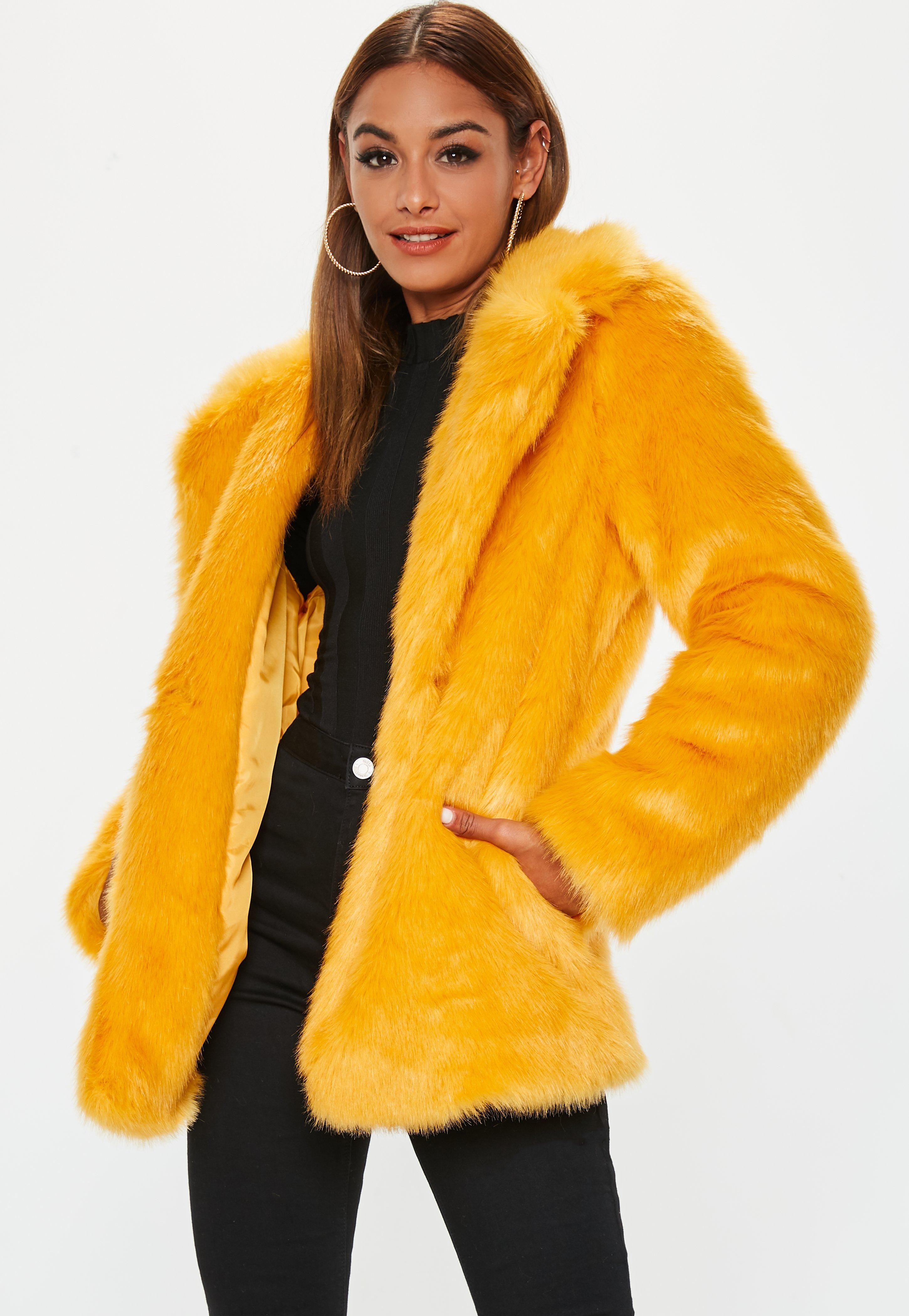 8ca3732f21 yellow-faux-fur-collared-coat | Winter Warmers | Faux fur collar ...