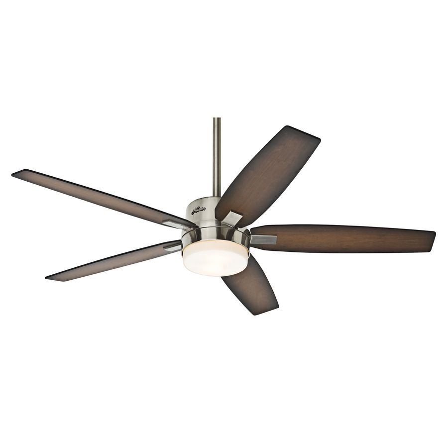 Shop Hunter Windemere 54-in Brushed Nickel Downrod Mount Ceiling Fan with Light Kit and  sc 1 st  Pinterest & Shop Hunter Windemere 54-in Brushed Nickel Downrod Mount Ceiling ... azcodes.com