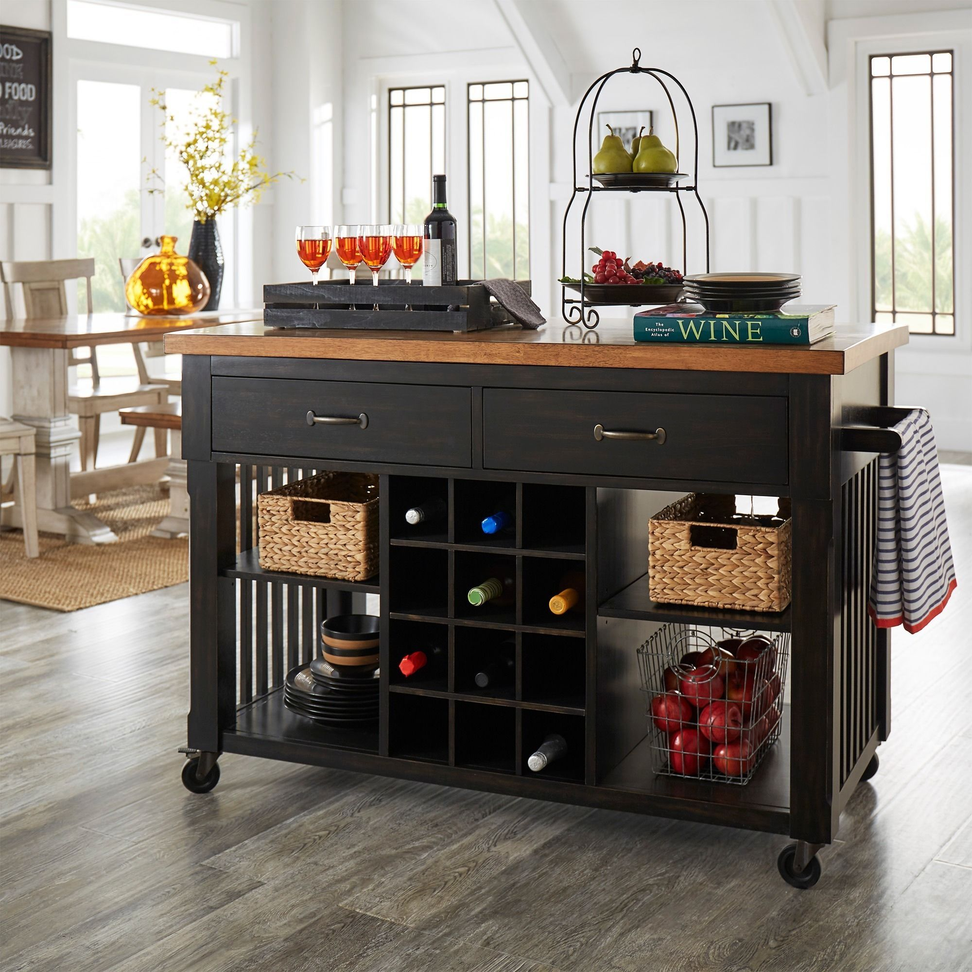 Eleanor Two Tone Kitchen Island With Wine Rack By Inspire Q