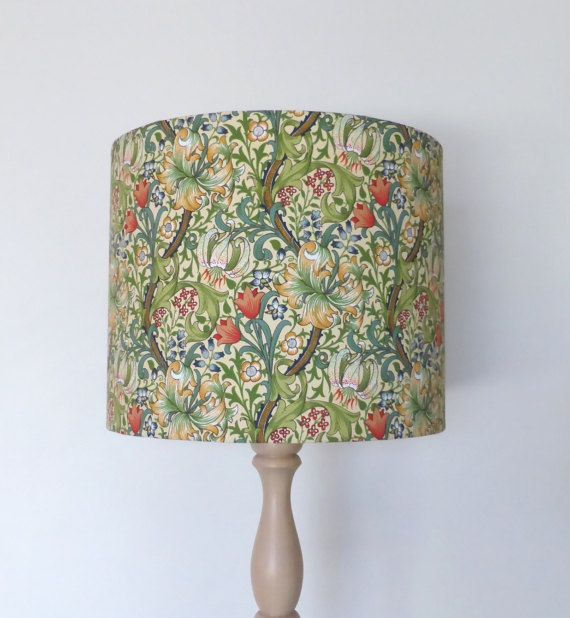 William Morris Golden Lily Lampshade Floral Vines Vintage Wallpaper Style Handmade In Australia Wood Lamp