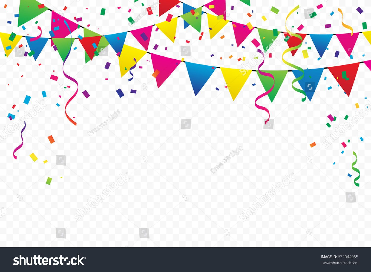 Colorful Party Flags With Confetti And Ribbons Falling On