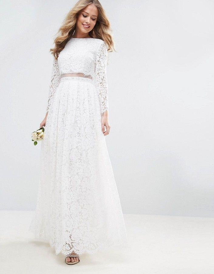 ebb8f93aca13 ASOS BRIDAL Lace Long Sleeve Crop Top Maxi Dress | Spring ...