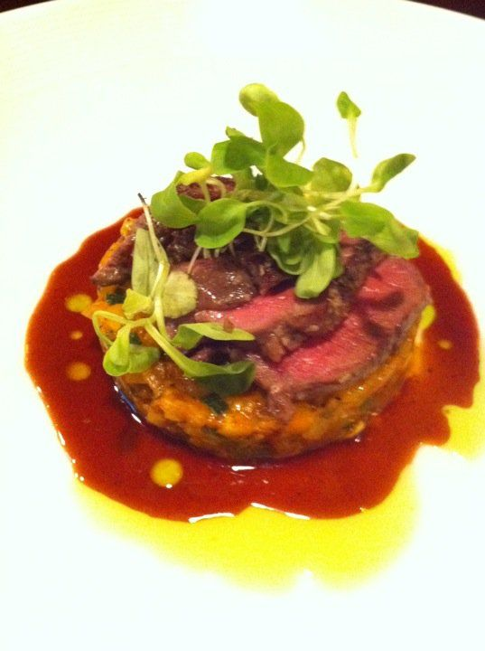 straus farm lamb top round sous vide over ratatouille with red wine