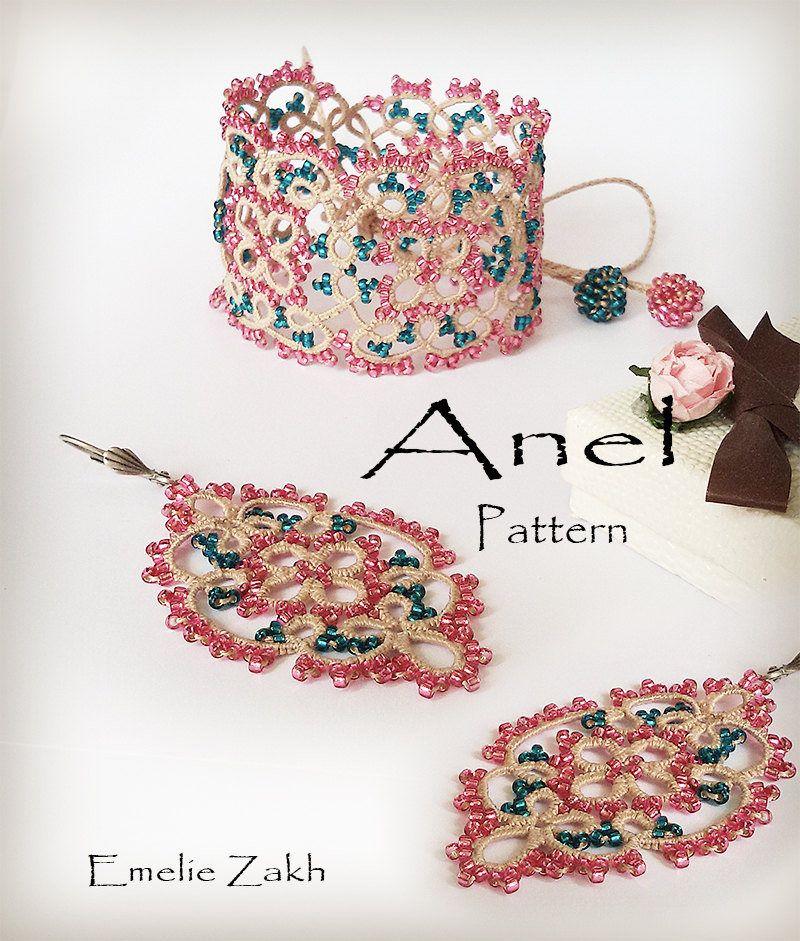 Pdf Tatting Lace Pattern Bracelet Earrings Beaded Tutorial Frivolite Jewelry Beading