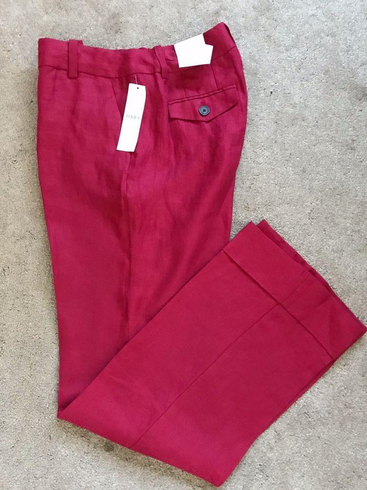 deac0bd1e7ca6d Coldwater Creek NWT Herringbone Linen Trouser Pants Size 8 Red Natural Fit  1004 #ColdwaterCreek #Linen