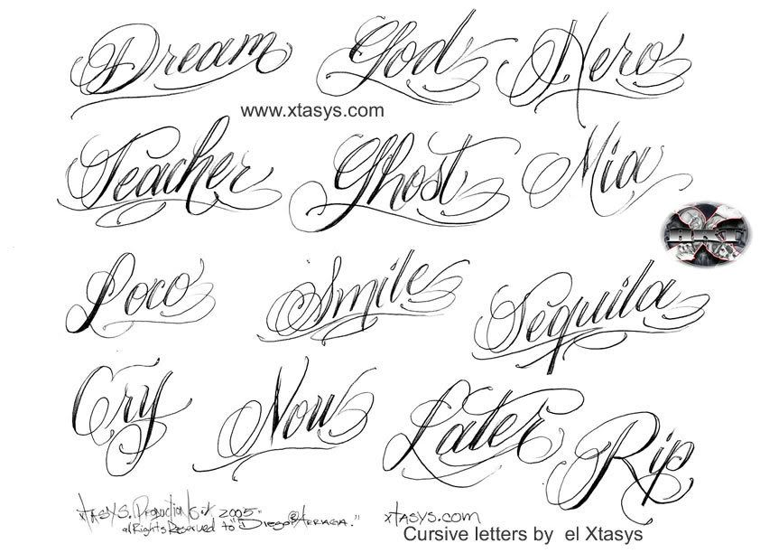 Cursive Tattoo Lettering Style