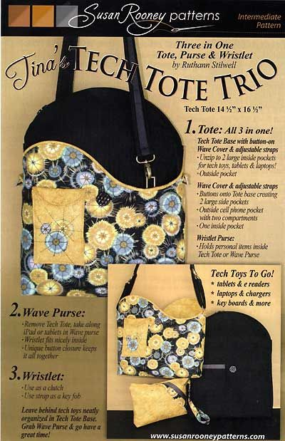 Purse Pattern News: Unique Pattern with a Detachable Outer Cover - Tina's Tech Tote Trio