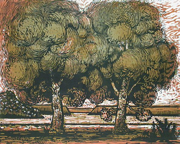 Robert Patierno Two Trees 2003 Reduction Woodcut Edition Of 20 16 X Inches
