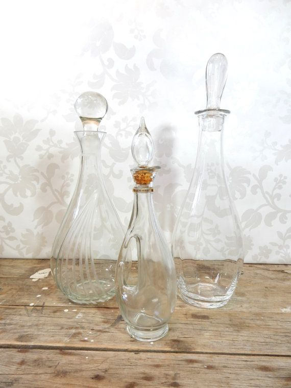Decanter Lot Crystal and Glass set of 3 by littlecleoathome