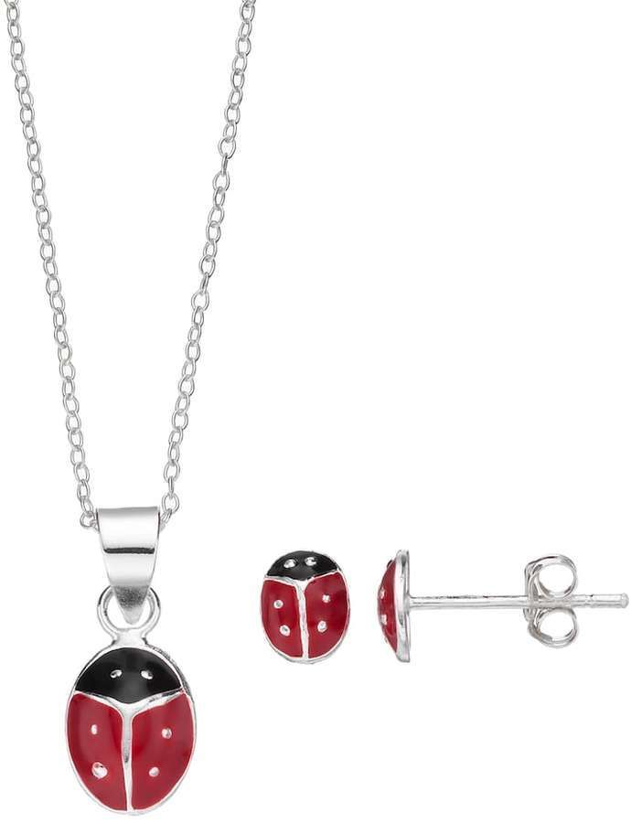Charming Sterling Silver Kids Ladybug Pendant Stud Earring Set