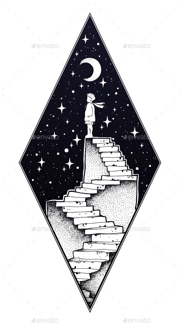 Abandoned ruin stairway to the night, with a boy looking at moon sky. Symbol of childhood, imagination, creative idea, motivation, dreams. Surreal tat…