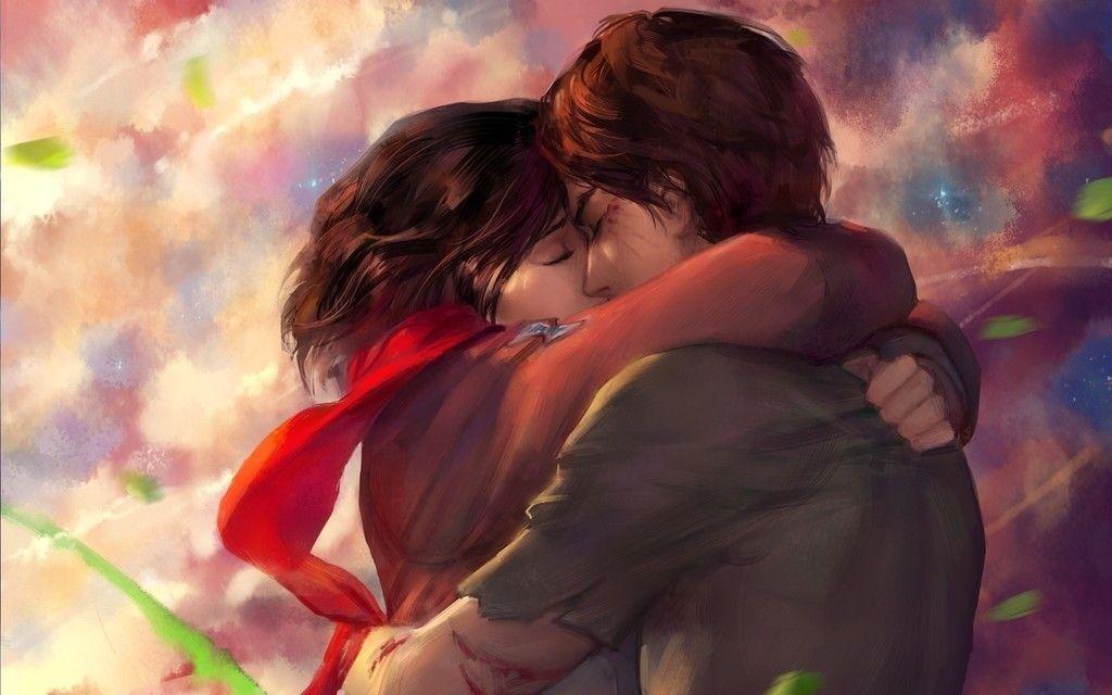 Eren Yeager Mikasa Ackerman Attack On Titan Anime Couple Kiss Wallpaper Attack On Titan Anime Attack On Titan Attack On Titan Art