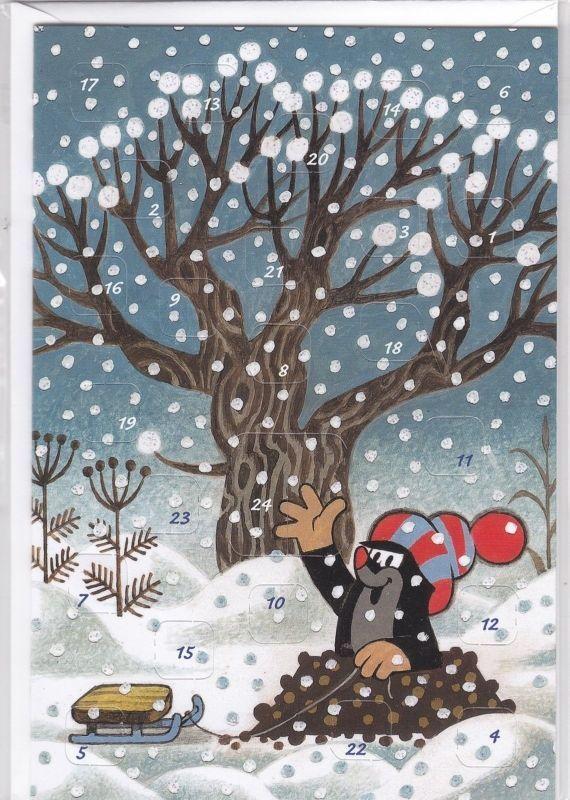 Maus Adventskalenderkarte Weihnachtsbaum im Wald kleiner Maulwurf Pauli