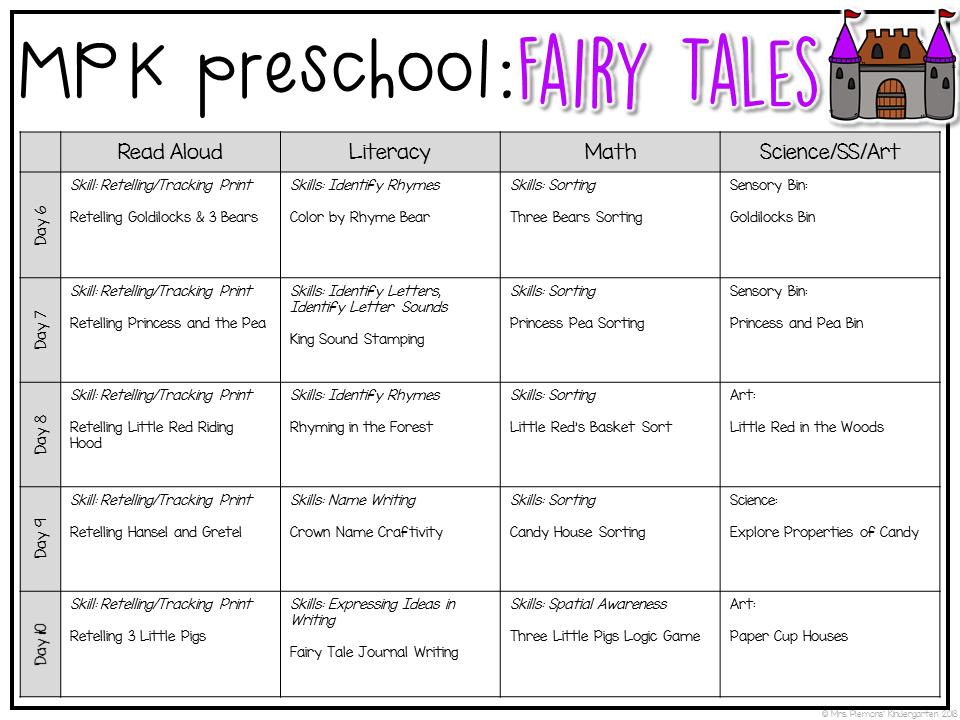 preschool fairy tales week 2 lessons daycare curriculum preschool lesson plans lesson. Black Bedroom Furniture Sets. Home Design Ideas