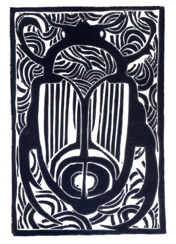Käfer original Linolschnitt von NicolaBarsaleau auf Etsy